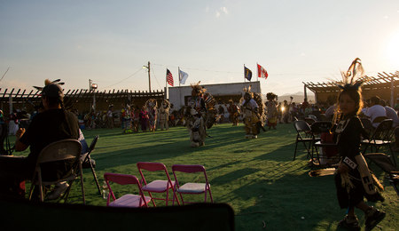 Dusk falls on the Heart Butte Pow Wow